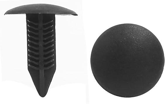 100 x 6.6mm Hole Plastic Rivets Fastener Push Clips Black for Car Auto Fender