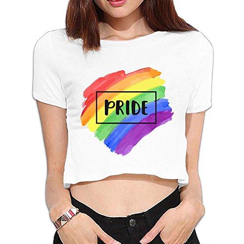 Kamaple Rainbow LGBT Pride Ladies Short Sleeve Midriff-Baring T-Shirt ()