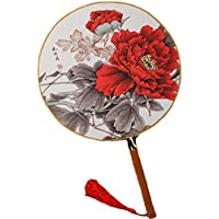 2PCS Cotton Fabric Fan Print Decor Bamboo Handle Round Hand Fan, Flower/Red