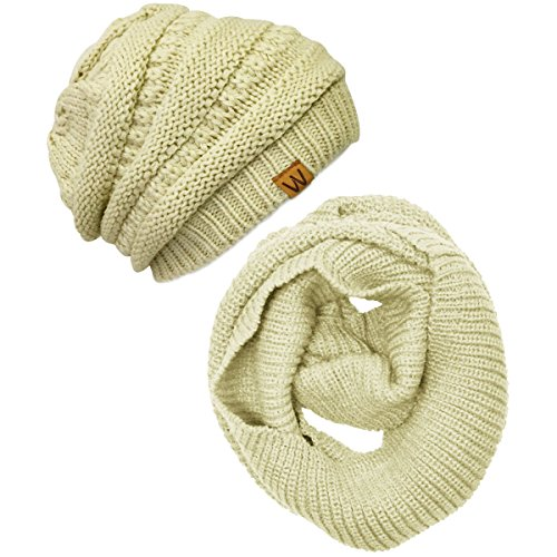 (Wrapables Winter Warm Knitted Infinity Scarf and Beanie Hat Set,)