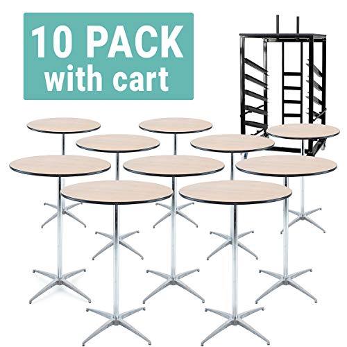 (EventStable Cocktail Table Cart with 10 Titan Series Round Wood Cocktail Tables - 30'')