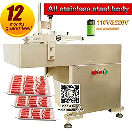 YOLI Mutton Slicing Machine Commercial Full Automatic Frozen Meat Beef Roll Cutting Machine Desktop Small Scale Crosscutting Mutton Roll Slicer 18 Degree Meat Without Defrost 220V 50HZ