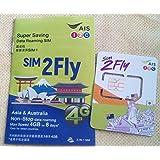 【AIS】アジア・オーストラリア 8日間3GBまで高速接続のデータSIMカード