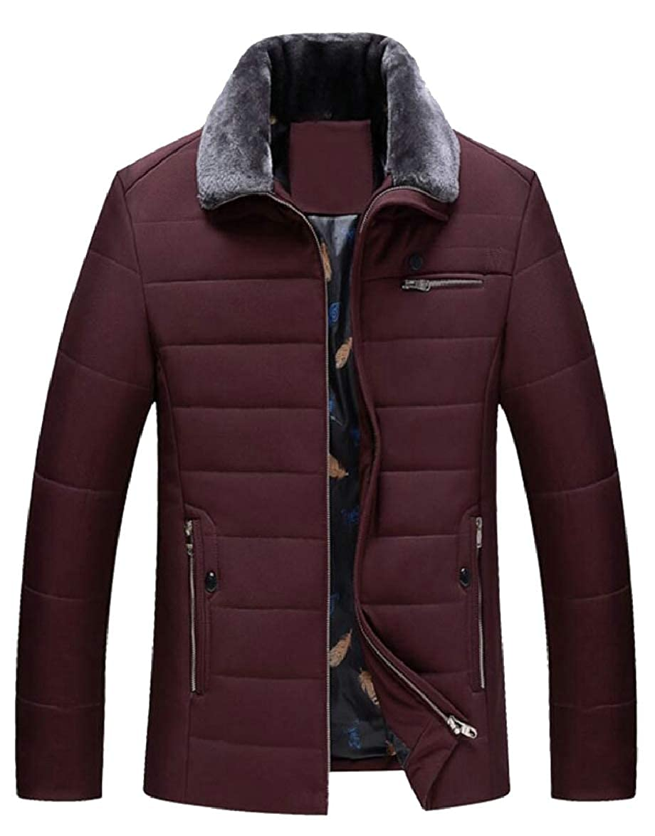 ouxiuli Mens Padded Warm Winter Faux-Fur Collar Slim Thick Down Jacket Coat
