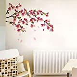 Decals Design 'Sakura Cherry Blossom' Wall Sticker (PVC Vinyl, 70 cm x 50 cm, Multicolour)