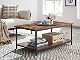 AMOAK Industrial Coffee Table with Storage Shelf, Vintage Wooden Board with Stable Metal Frame, Wood Look Furniture with Rustic Coffee Table for Living Room, Retro Brown