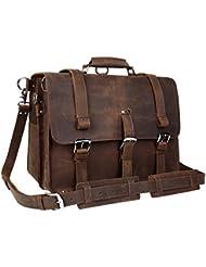 Wildken Genuine Leather Briefcase, Mens Shoulder Handbag Messenger Laptop Bag