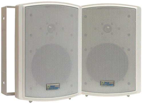 Dual Waterproof Outdoor Speaker System - 6.5 Inch Pair of Weatherproof Wall or Ceiling Mounted White Speakers w/Heavy Duty Grill, Universal Mount - for Use in The Pool, Patio or Indoor - Pyle PDWR63