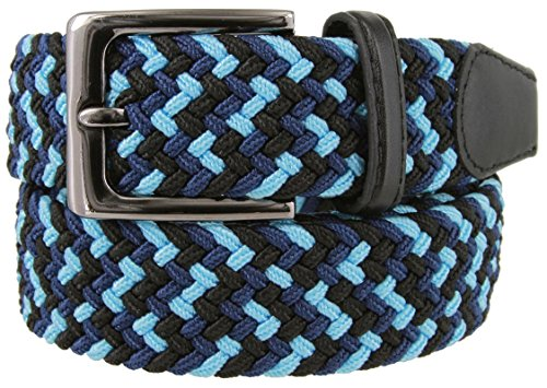 Braided Elastic Fabric Woven Stretch Belt Leather Inlay (Blk/BLU/NVY, 3X-Large)