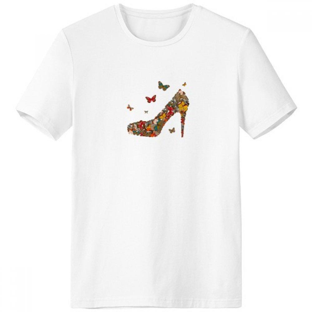 DIYthinker Mariposa y Zapatos de tacón Alto Escote de la Camiseta Blanca de Primavera y Verano de Tagless Comfort Deportes Camisetas Regalo sku00368726f22204-XXL