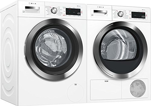 Bosch White Front Load Compact Laundry Pair with WAW285H2UC 24″ Washer and 24″ WTG865H2UC Condensation Electric Dryer