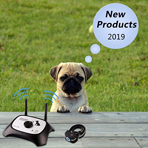 Wireless Dog Fence Electric Pet Containment System, Safe Effective Beep/Shock Dog Collar, Adjustable Control Range 1000 Feet & Display Distance, Rechargeable Waterproof Collar Receiver (1 Dog System)