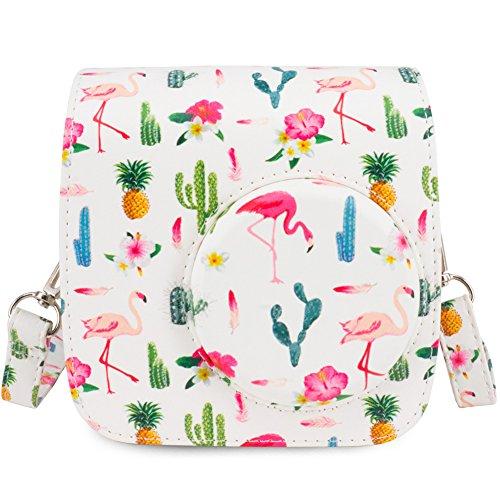 Wolven Camera Protective Case Bag Purse Compatible Fugifilm Instax Mini 7s Camera,(White Flamingo)