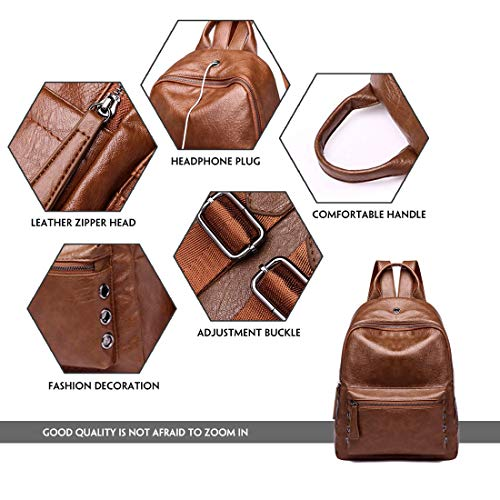 Brown Fashion School Casual Bag Backpack Purse Leather Women Shoulder PU Artwell Girls for Daypack Rx06nO8wq