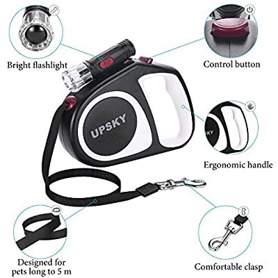 UPSKY Retractable Dog Leash, 16 ft Scalable Dog Walking Leash with Bright Flashlight for Small-Medium, Moving Free, One Button Break & Lock, Black by DRT