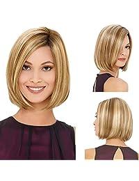 Tebatu Women Wig Syntheic Hair Lady Bob Style Blond Fashion Short Full African American
