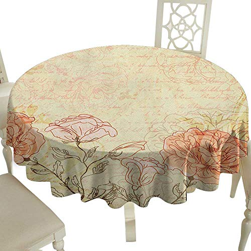 100% Polyester Round Tablecloth 50 Inch Vintage,Double Exposure Background Roses and Lettering Love Words Once Upon A Time Theme Cream Pink Great for,Party & More (Once Upon A Time Alice And Wonderland)