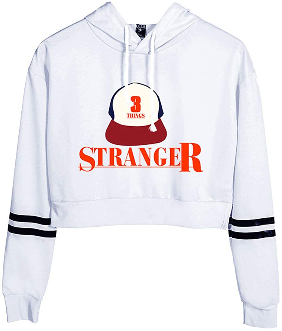 PANOZON Stranger Things Felpe con Cappuccio Donna Stampa Figura di Stranger Things Exposed Navel Leggera Pullover Sportiva Streetwear