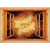 3D Depth Illusion Vinyl Wall Decal Sticker [ Horror House Decor,Demon Trap Symbol Logo Ceremony Creepy Ritual Fantasy Paranormal Design,Orange ] Window Frame Style Home Decor Art Removable Wall Sticke