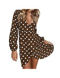 HEFEITONG Womens Autumn Polka Dot Long Sleeve V Neck Mini Dress Party Boho Dress