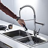 Fapully Kitchen Sink Faucets Robinet Cuisine Contemporary Spring Single Handle with Pull Down Sprayer Chrome
