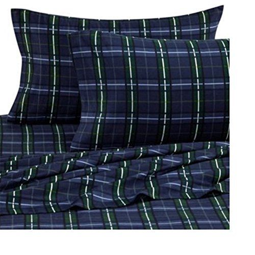 The Seasons Collection Super Soft Cotton Heavyweight Flannel 3 Piece Sheet Set Blackwatch Plaid Navy Blue and Green TWIN Checkered Sheet Sets