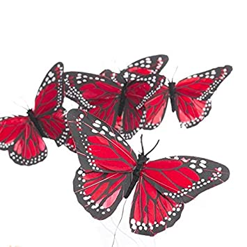 and Creating Crafting Factory Direct Craft Group of 6 Artificial Colorful Red Monarch Butterflies on Pick for Floral Embellishing