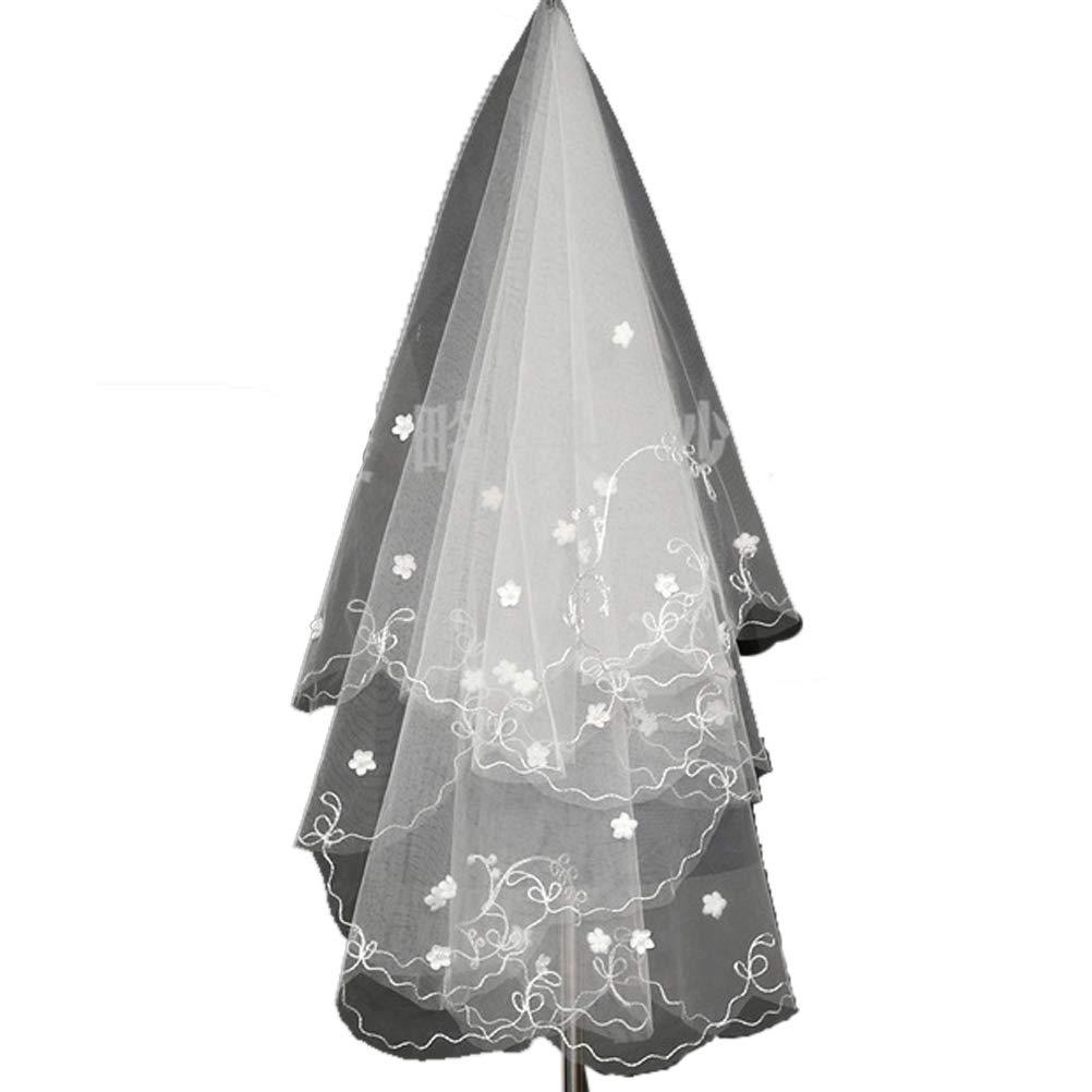 JYLFP Wedding Bridal Veil Short Lace Three-Dimensional Flower Pearl Veils White