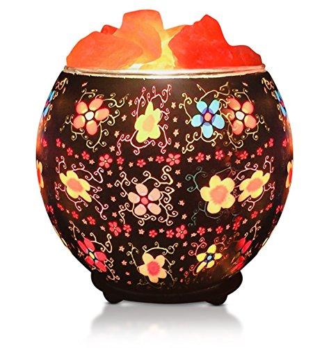 Himalayan CrystalLitez,Natural Himalayan Salt Lamp in A Handcrafted and Unique Artisan Bowl,Natural Air Purifier and Aromatherapy Salt Lamp (Batik Flowers)