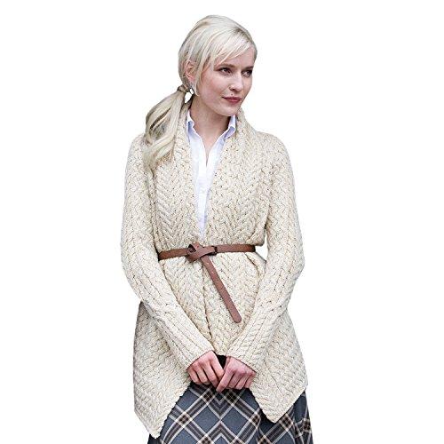 Glenross 100% Irish Merino Wool Ladies Aran Waterfall Sweater (Medium) by The Irish Store - Irish Gifts from Ireland