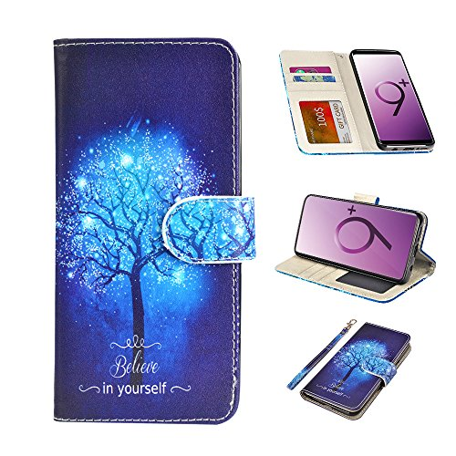 UrSpeedtekLive Galaxy S9 Plus Wallet Case Folio Flip Premium PU Leather Case Cover w/Card Holder Slot Pockets, Wrist Strap, Magnetic Closure Compatible Samsung Galaxy S9 Plus,Believe in Yourself