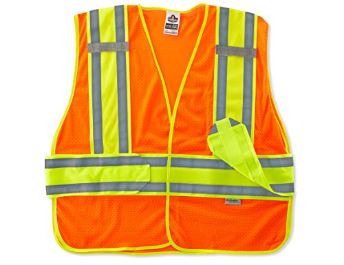 2 Division Vest - Ergodyne GloWear 8240HL Two Tone Expandable Reflective Safety Vest, Orange, M/L