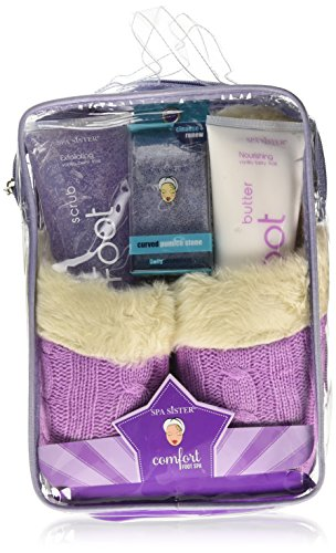 Bath Accessories Luxurious Cable-Knit Foot Spa Slipper Set, Vanilla Berry Frost/Lavender by Bath Accessories