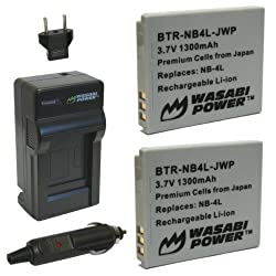 Wasabi Power Battery (2-pack) & Charger For Canon Nb-4l
