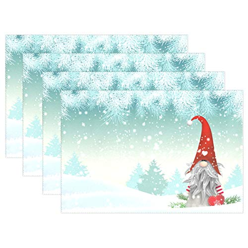 Merry Christmas Gnome Standing Snowfall Placemats Set of 4 Table Mat, Winter Snow Snowflake White World Christmas Tree Table mats Placemats Heat-resistant Stain Resistant Washable for Kitchen Dining