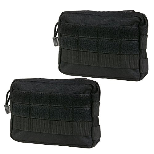 Infityle MOLLE Pouches - Tactical EDC Compact Multi-Purpose Water-Resistant Utility Gadget Gear Hanging Waist Bags (2 Pack Black, Tactical Pouches) -