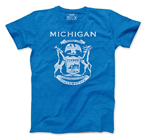 Retro State Michigan Flag on Heather Royal Blue T-Shirt Printed in Michigan (Large)