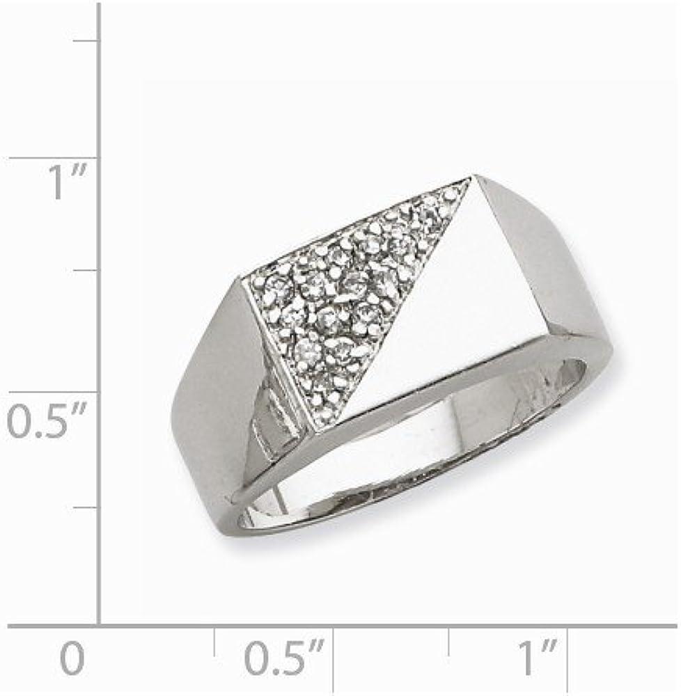 Jewel Tie 925 Sterling Silver Mens CZ Cubic Zirconia Ring