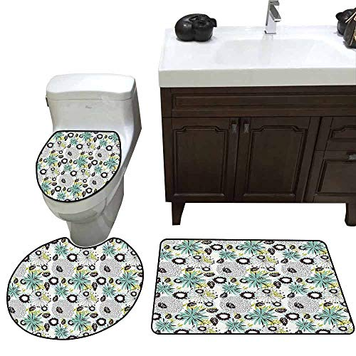 3 Piece Toilet Cover Set Floral Mix Flowers in Vibrant Colors Pattern Flourishing Blooms Petals Buds Artwork U-Shaped Toilet Mat Turquoise Brown -