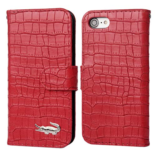 iPhone 8 Case iPhone 7 Case, Crocodile Pattern Wallet Soft PU Leather Case with Kickstand Function Card Holder and ID Slot Slim Flip Protective Case