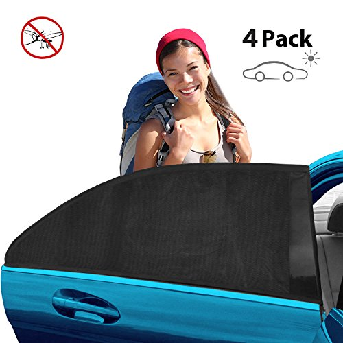 TECUUL 4Pack Front & Rear Window Car Sun Shade, Car Window Shade for Baby& Pet, Block UV-Rays, Anti Mosquito and Bugs