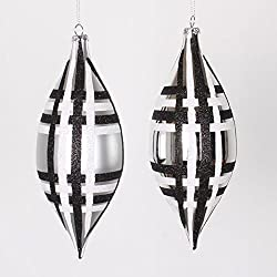 4ct Silver w/ Black & White Glitter Plaid Shatterproof Christmas Finial Drop Ornaments 7""