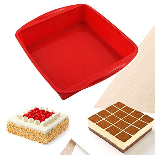 IC ICLOVER Food Grade Silicone Cake Mold Pasta Pan , Baking Pan , Bakeware Food Grade Silicone Square Bread Cake Mold Baking Pan-Red