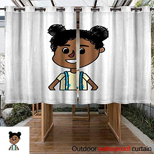 RenteriaDecor Outdoor Curtains for Patio Waterproof Girl with Hairstyle Design and Casual Blouse W108 x L72