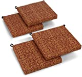 Blazing Needles Outdoor Spun Poly 19-Inch by 20-Inch by 3-1/2-Inch All Weather UV Resistant Zippered Cushions, Vanya Paprika, Set of 4