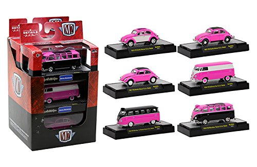 Auto Thentics Volkswagen 6 Cars Set Pink Edition IN DISPLAY CASES 1/64 by M2 Machines 32500-MJS03