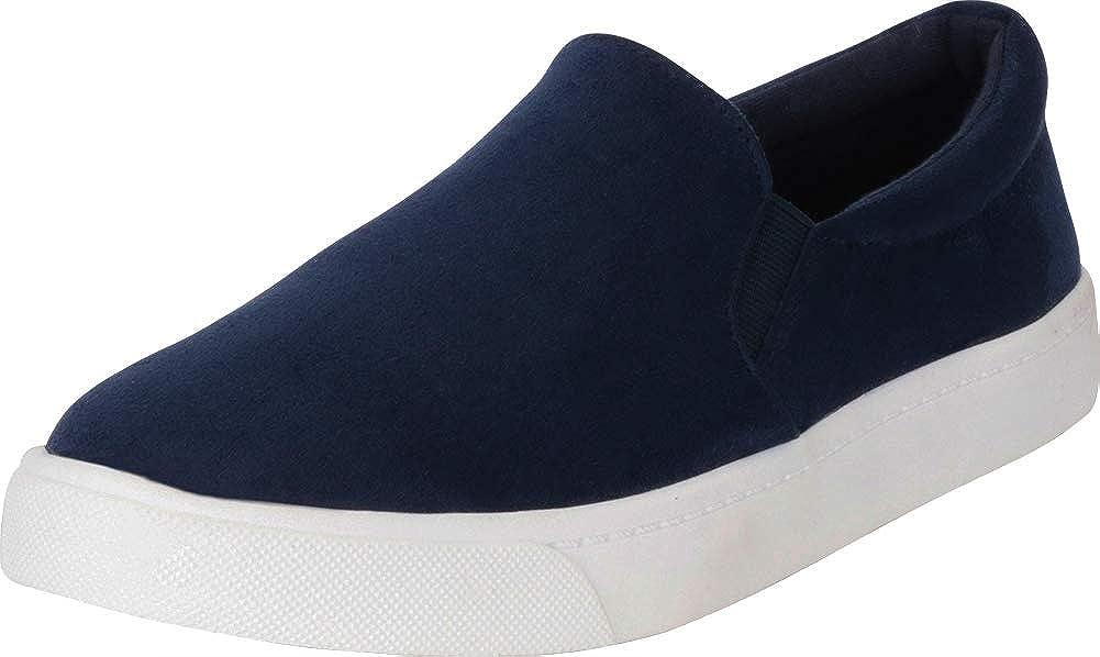 Navy Imsu Cambridge Select Women's Classic Round Toe Stretch Slip-On Flatform Fashion Sneaker