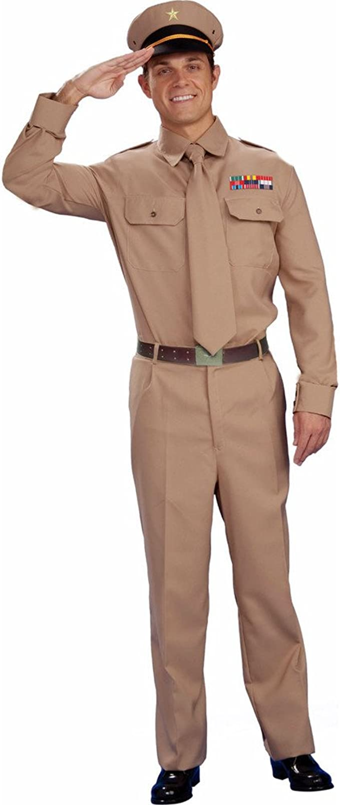 Military WW2 Army War General Adult Men Uniform Costume Pants Shirt Hat Tie Std