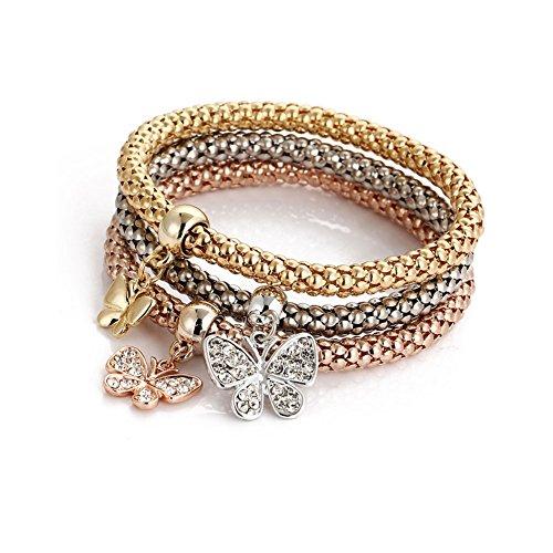Defiro 3PCS Stretch Bracelets Set Ship's Anchor Butterfly Crown Corn Chain Jewelry for Women Gold Tone
