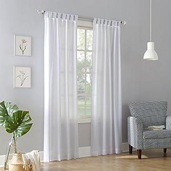 No. 918 Trevor Heathered Texture Semi-Sheer Tab Top Curtain Panel, 40